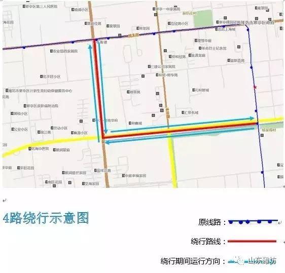 潍坊4路,5路,92路公交线路局部走向有调整